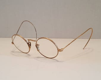 Antique Round Wire Rimmed Glasses 12K Gold Filled Steampunk