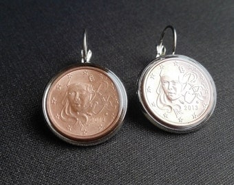 France Coin earrings Handcrafted Jewelry Earrings Fashion France Coin jewelry Metalworks Euro Gifts women Greetings from Paris