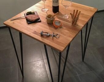 High table in oak in raw steel hairpins legs