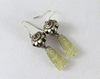 Antique jade and silver earrings