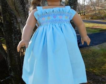 Hand Smocked Sundress for 18 inch dolls