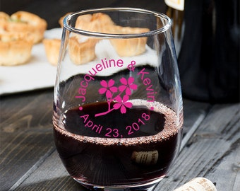 24 pcs Cherry Blossom Personalized 9 oz Stemless Wine Glass - Wedding Favors - MIC24