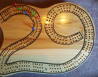 Wooden hand created Cribbage Board