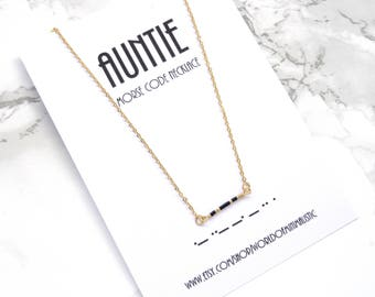 AUNTIE morse code necklace, baby shower gift, sister gift, baby shower jewelry, morse code jewelry, simple bar necklace, bridesmaid gift