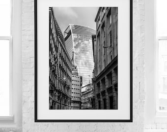 Black and white photograph of the Skygarden photographed from the streets of London - architecture, urban photo, skyscraper, modern, famous
