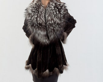 Sheared Black Mink Jacket With Silver Fox Fur Collar, Mink Fur, Real fur, Luxury Outfit, Tailored Fur Coat For Women, Fox Fur