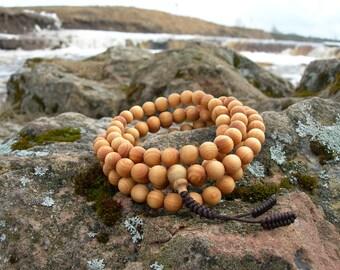 Buddhist prayer beads. Buddhist mala. Japa Mala. Rosary. Tuya Tree Wood Mala. Natural Tuya Coniferous Smell Wood! Tantra. Buddhism.