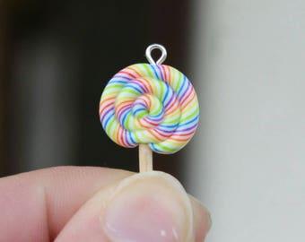lollypop charm, candy charm, sweets charm, miniature charm, miniature food charm, sweet candy charm, kawaii charm, cute charm, clay charm