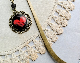 Black and red heart  book hook / bookmark with dangling glass cabochon accent