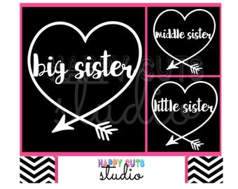 Big Sister or Middle Sister or Little Sister with Heart Arrow  Tribal Matching Family Siblings Iron On Vinyl Decal for Tshirt 326