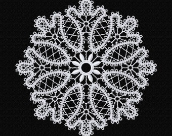 FSL, Freestanding lace doily machine embroidery design, Battenberg FSL, ITH, In the Hoop, Instant download