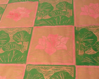 Lotus pink buds/green leaves - wrapping