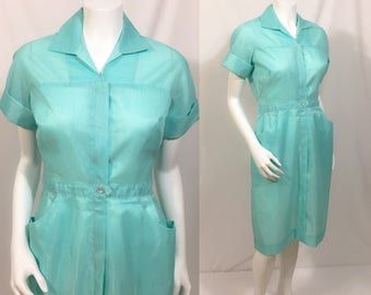 1950s Pennys Dacron Wash-n-Wear Dress, Vintage shirtwaist dress, Nurses Uniform