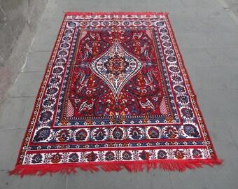 Vintage Turkish rug,bedspread,tablecloth,wall hanging rug,77 x 54 inches