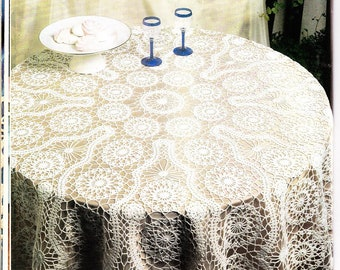 90. Vintage tablecloth with bruges lace crochet UK pattern  in pdf,