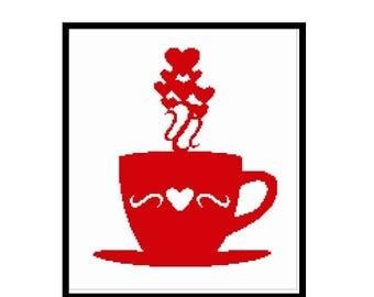 Love coffee silhouette cross stitch pattern in pdf