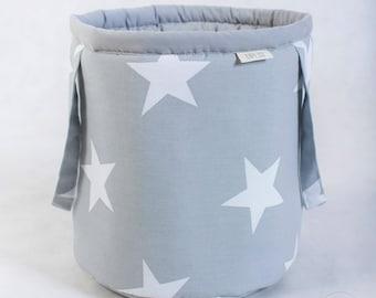 Basket for toys, grey stars, cotton