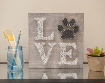 10x10 Love Paw String Art