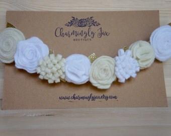 White and ivory felt flower crown, felt headband, felt flowers, toddler flower crown, adult flower crown, baby headband, holiday headband