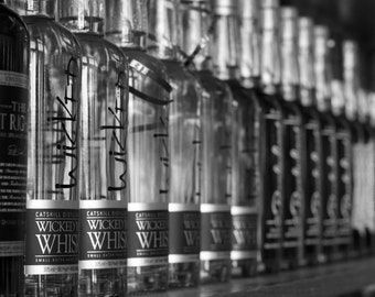 Whiskey bottles, black and white, fine art photography print set of 2