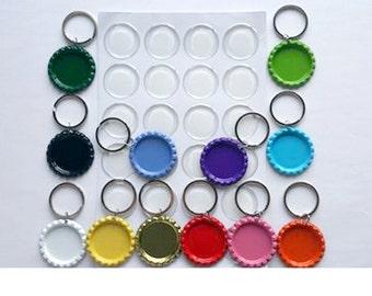 25 Bottlecap Key Chain & Epoxy Sticker Charm Kit, Keychain Bottle Cap Kit, Painted Flat Bottle Caps Craft Kit, Party Favors