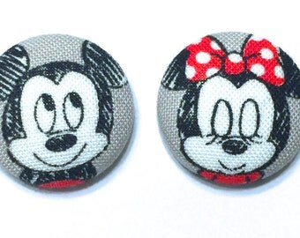 Minnie and Mickey Mouse Earrings - Fabric Covered Button Earrings Disney Inspired - Mickey Mouse Earrings - Minnie Mouse Earrings - Earrings