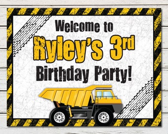 Construction Dump Truck Printable Party Welcome Sign (PDF File only)