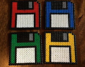 Floppy Disk Pixel Art Bead Coasters - Available as Individuals or as Set of 4