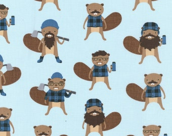 Burly Beavers in Denim by Andie Hanna for Robert Kaufman quilting cotton lumberjacks fabric material by the yard or metre