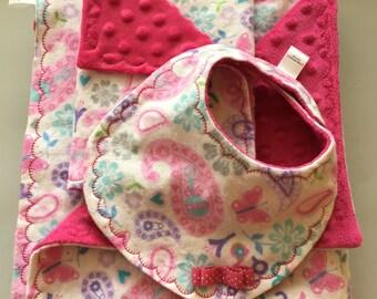 Twin baby girl blanket,twin  burp cloth, twin bib, two sets for twin girls.