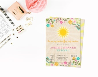 Flower sunshine party,INSTANT DOWNLOAD - Edit Yourself in Word. Template Editable Text Microsoft Word.DIY You Print.