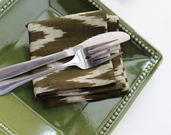 Green cotton ikat dinner napkins - natural eco friendly cloth dinner napkins - moss green wedding napkins - rustic