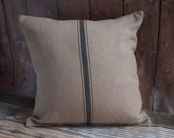 Grain Sack Pillow COVER ONLY. Farmhouse Style Pillow.  Farmhouse Decor. Fixer Upper Style. French linen. Dark Tan with Black Stripe Pillow.