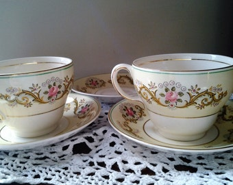 Pair of Johnson Bros Pareek Teacups and Saucers  - Come gift boxed