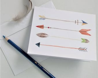 Arrow Cards, Watercolor Arrows Printed Art Cards, 5 Card and Envelope Set, Decorative Arrows, Blank Greeting Cards