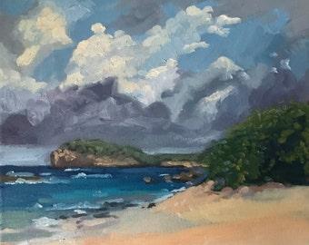 Seascape Oil Painting on Canvas Beach landscape tropical island ocean plein air art, ocean beach in Guadeloupe Caribbean landscape