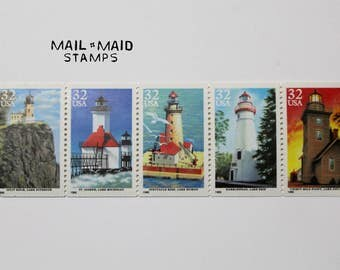 Great Lake Lighthouses || Set of 5 unused vintage postage stamps