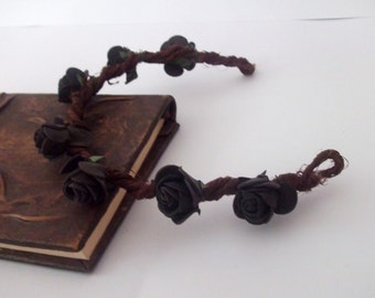 Black flower headband, adult headband black, black boho headband, half crown, black prom hair, unique flower headband, black floral headband