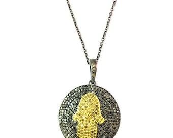 Genuine Pave Diamond Hamsa Round Pendant Necklace  Diamond Necklace, Hamsa Necklace, Diamond Charm