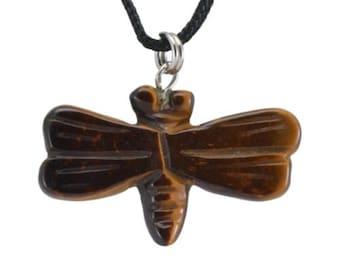 Dragonfly Tiger Eye Gemstone Pendant Hand Carved Stone Necklace