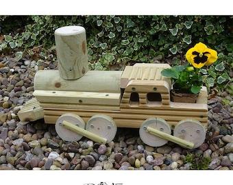 Train Planter Wooden Engine