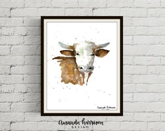 Bull Watercolor Print | Farm Animal Watercolor Art | Bull Art