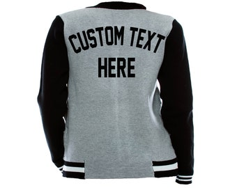 CUSTOM TEXT Grey and Black Long Sleeve Varsity Button Up Jacket- Design Your Own Text Varsity Jacket- Gray and Black Knit Bomber Jacket