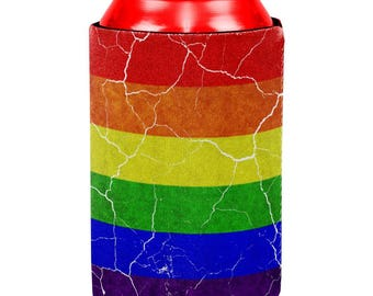 Distressed Gay Pride Flag All Over Can Cooler