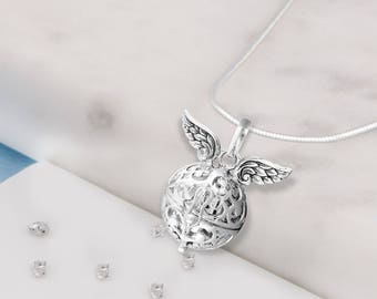 Silver memorial ashes/hair angel wings treasure ball necklace