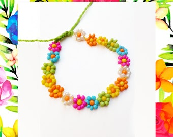 Woven Friendship Bracelet Delicate Flowers CHOOSE YOUR COLORS Seed Beads Skinny for women handmade gift idea trend spring - Q'enqo Bracelets