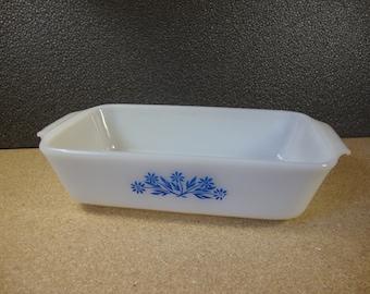 Fire King 1 Quart Casserole Dish with Blue Cornflower Design Vintage Anchor Hocking Collectible Bakeware