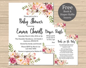 Printable Boho Floral Baby Shower Invitation, Book Insert & Diaper Insert, Floral Boho Baby Shower Invite Package Boy or Girl Download 025-W