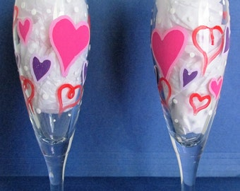 Hand-Painted Valentine's Day themed Champagne Flutes, featuring Hearts and Polka Dots, set of 2
