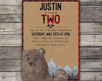 Lumberjack Party Invitation - Birthday Party - Wilderness - Red - Plaid - Lumber Jack Invitation